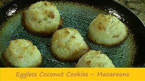 Eggless Coconut Cookies | Eggless Macaroons Recipe